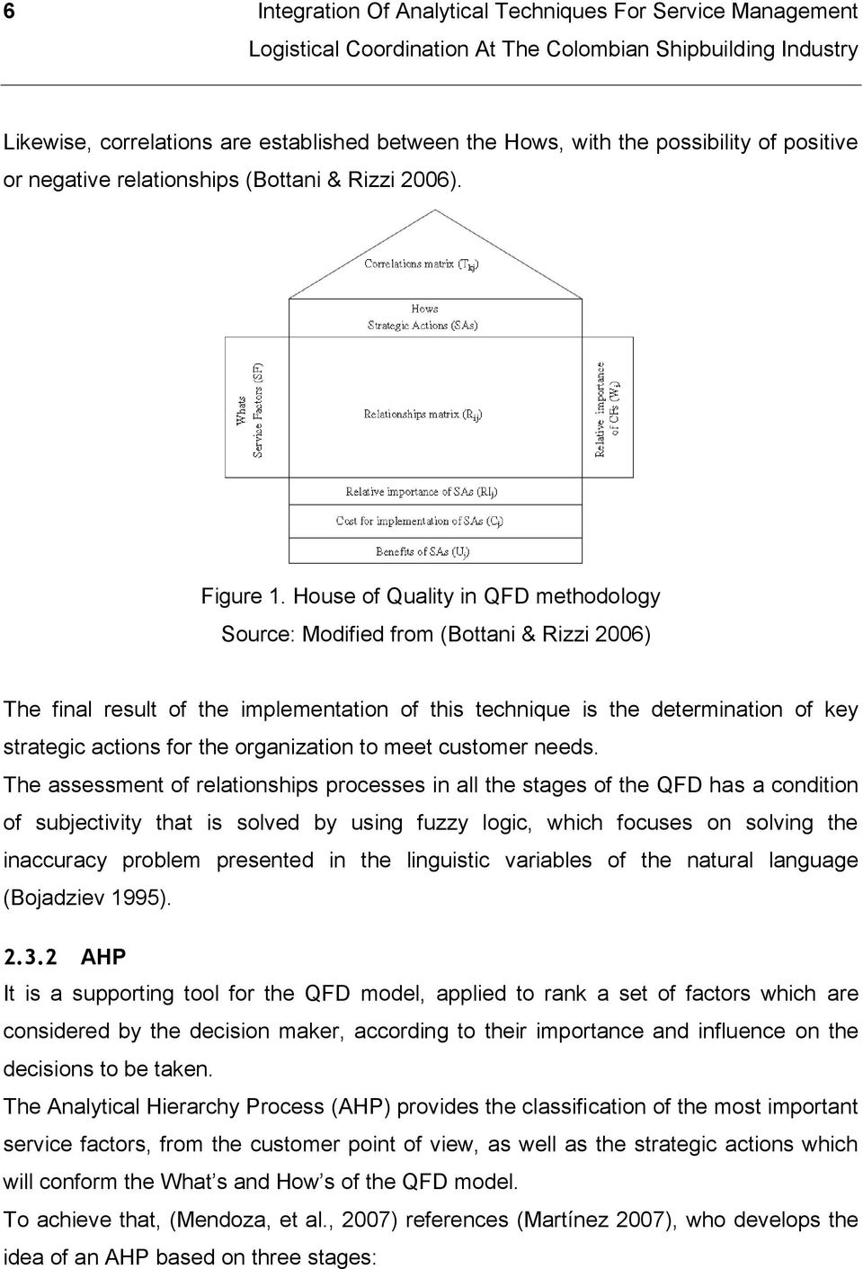 House of Quality in QFD methodology Source: Modified from (Bottani & Rizzi 2006) The final result of the implementation of this technique is the determination of key strategic actions for the