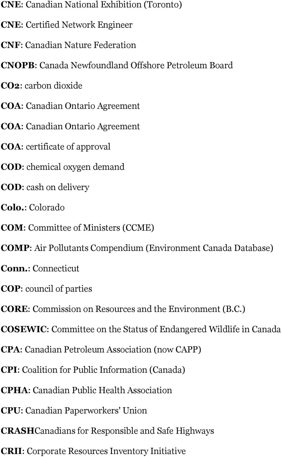 : Colorado COM: Committee of Ministers (CCME) COMP: Air Pollutants Compendium (Environment Canada Database) Conn.