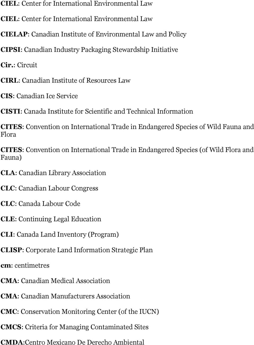 : Circuit CIRL: Canadian Institute of Resources Law CIS: Canadian Ice Service CISTI: Canada Institute for Scientific and Technical Information CITES: Convention on International Trade in Endangered