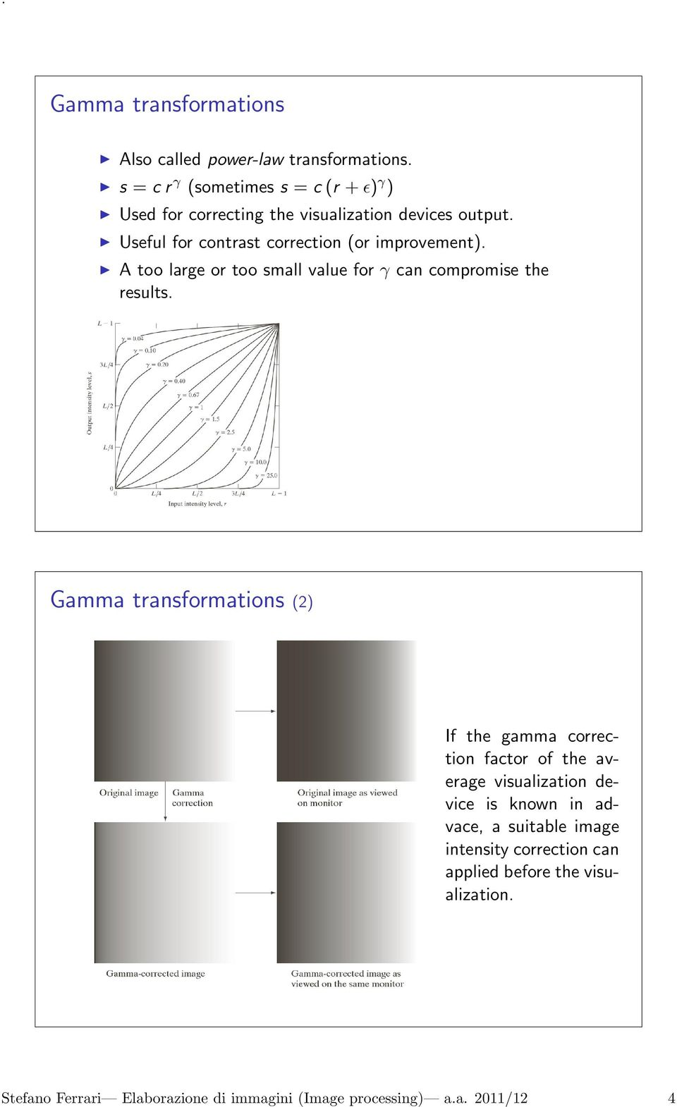 Useful for contrast correction (or improvement). A too large or too small value for γ can compromise the results.