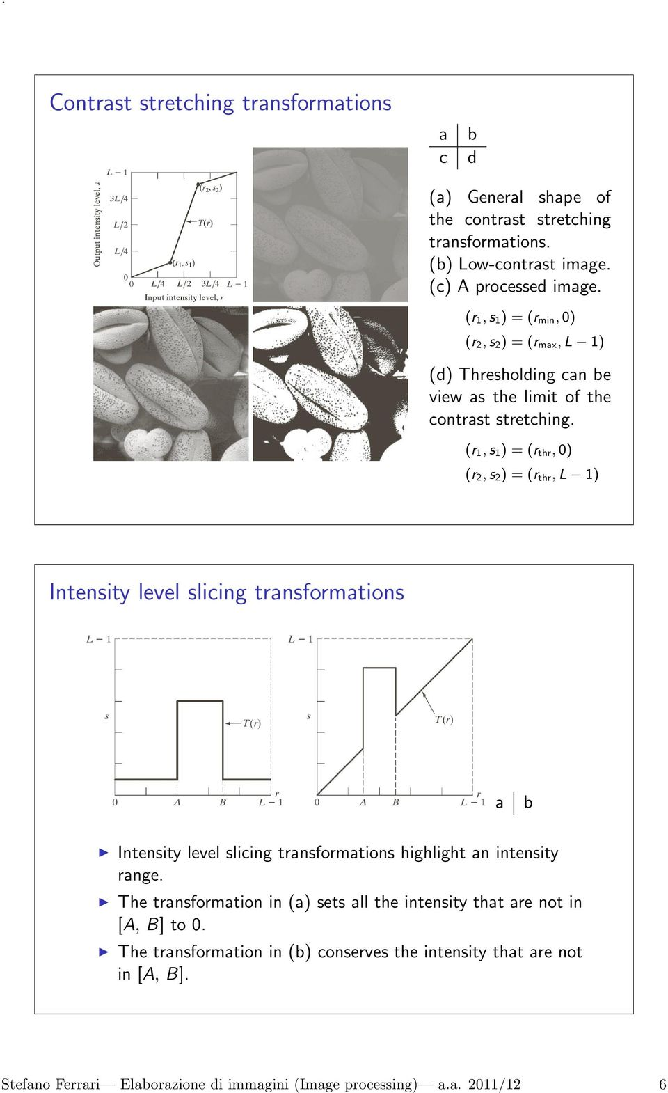 (r 1, s 1 ) = (r thr, 0) (r 2, s 2 ) = (r thr, L 1) Intensity level slicing transformations a b Intensity level slicing transformations highlight an intensity range.