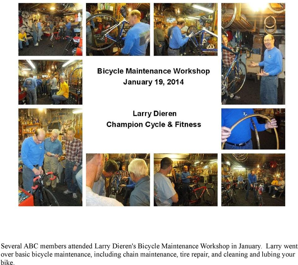 Larry went over basic bicycle maintenance,