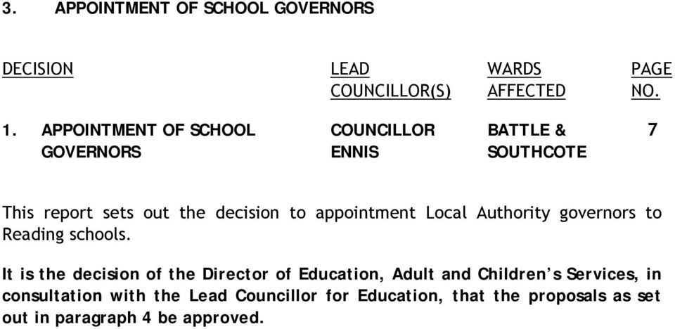 appointment Local Authority governors to Reading schools.
