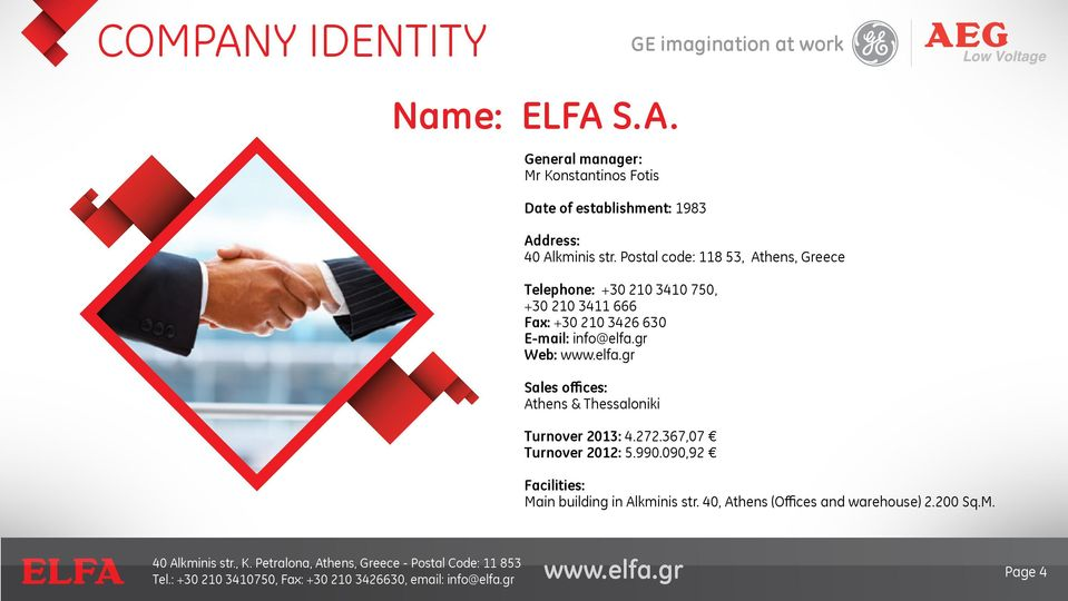 info@elfa.gr Web: Sales offices: Athens & Thessaloniki Turnover 2013: 4.272.367,07 Turnover 2012: 5.990.