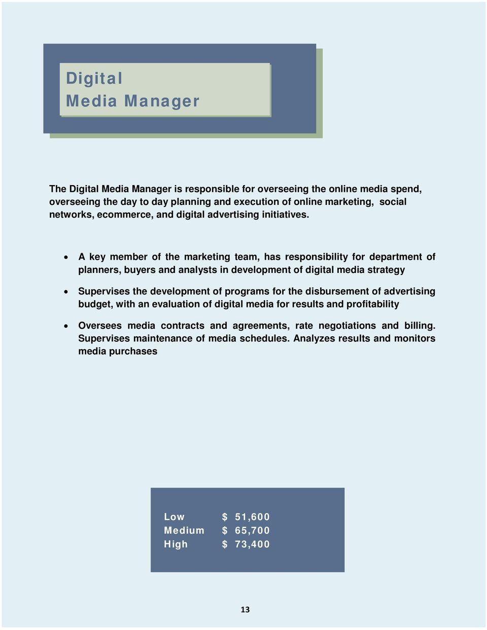 A key member of the marketing team, has responsibility for department of planners, buyers and analysts in development of digital media strategy Supervises the development of programs