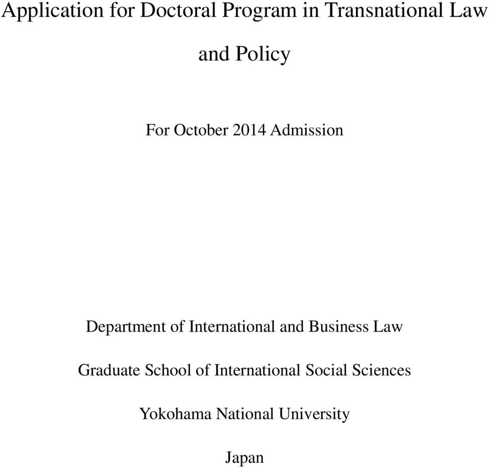International and Business Law Graduate School of