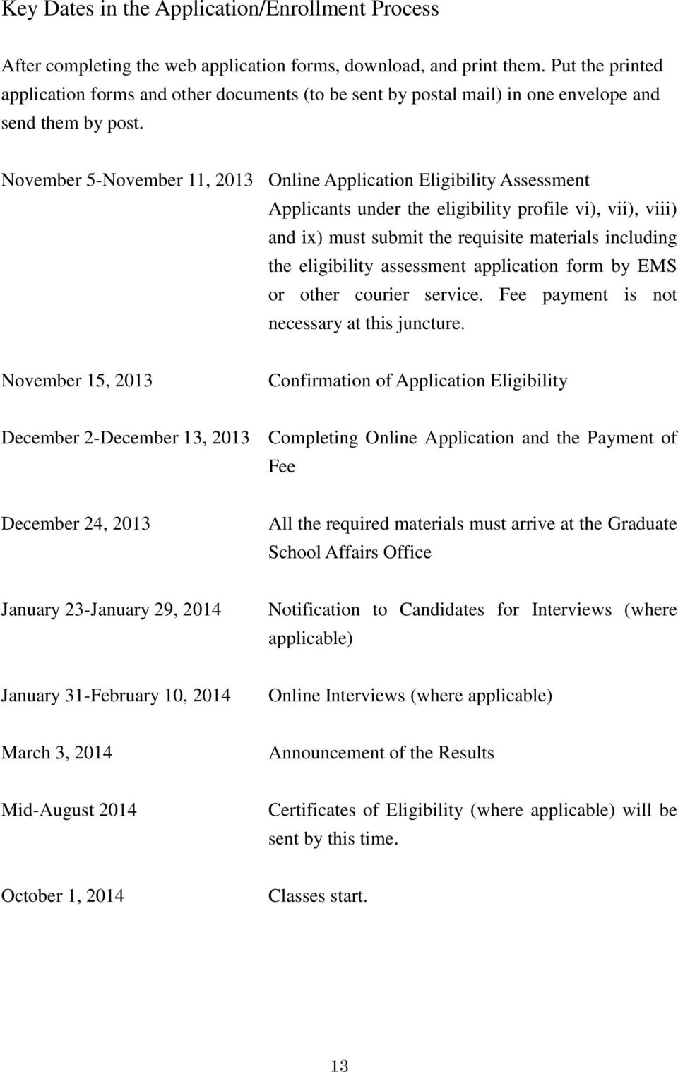 November 5-November 11, 2013 Online Application Eligibility Assessment Applicants under the eligibility profile vi), vii), viii) and ix) must submit the requisite materials including the eligibility