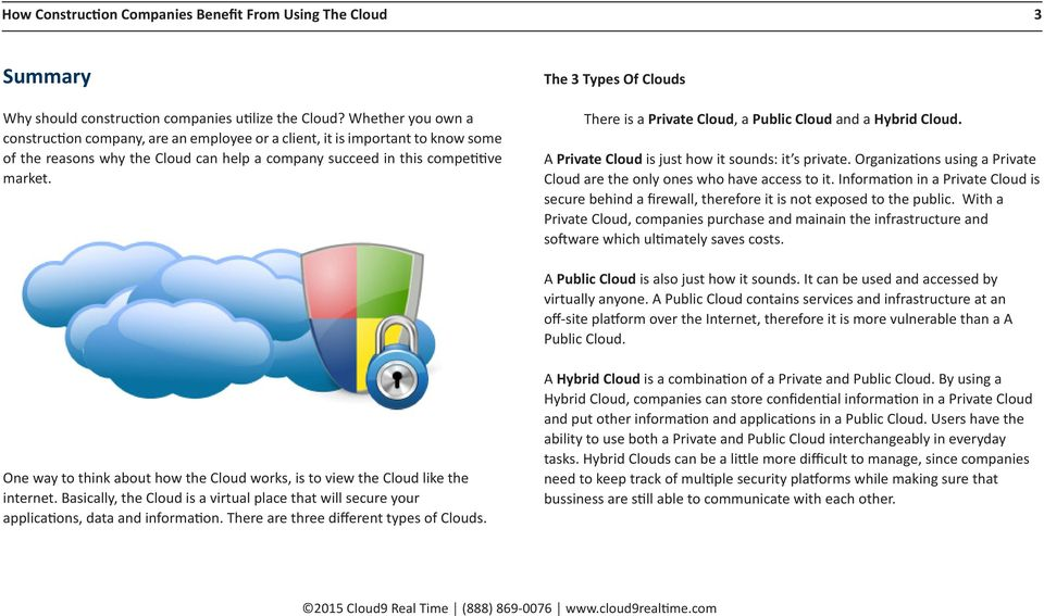 The 3 Types Of Clouds There is a Private Cloud, a Public Cloud and a Hybrid Cloud. A Private Cloud is just how it sounds: it s private.