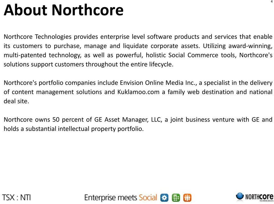 Utilizing award-winning, multi-patented technology, as well as powerful, holistic Social Commerce tools, Northcore's solutions support customers throughout the entire