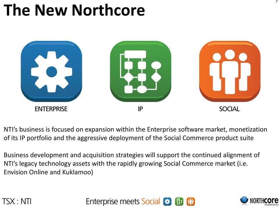 Business development and acquisition strategies will support the continued alignment of NTI s