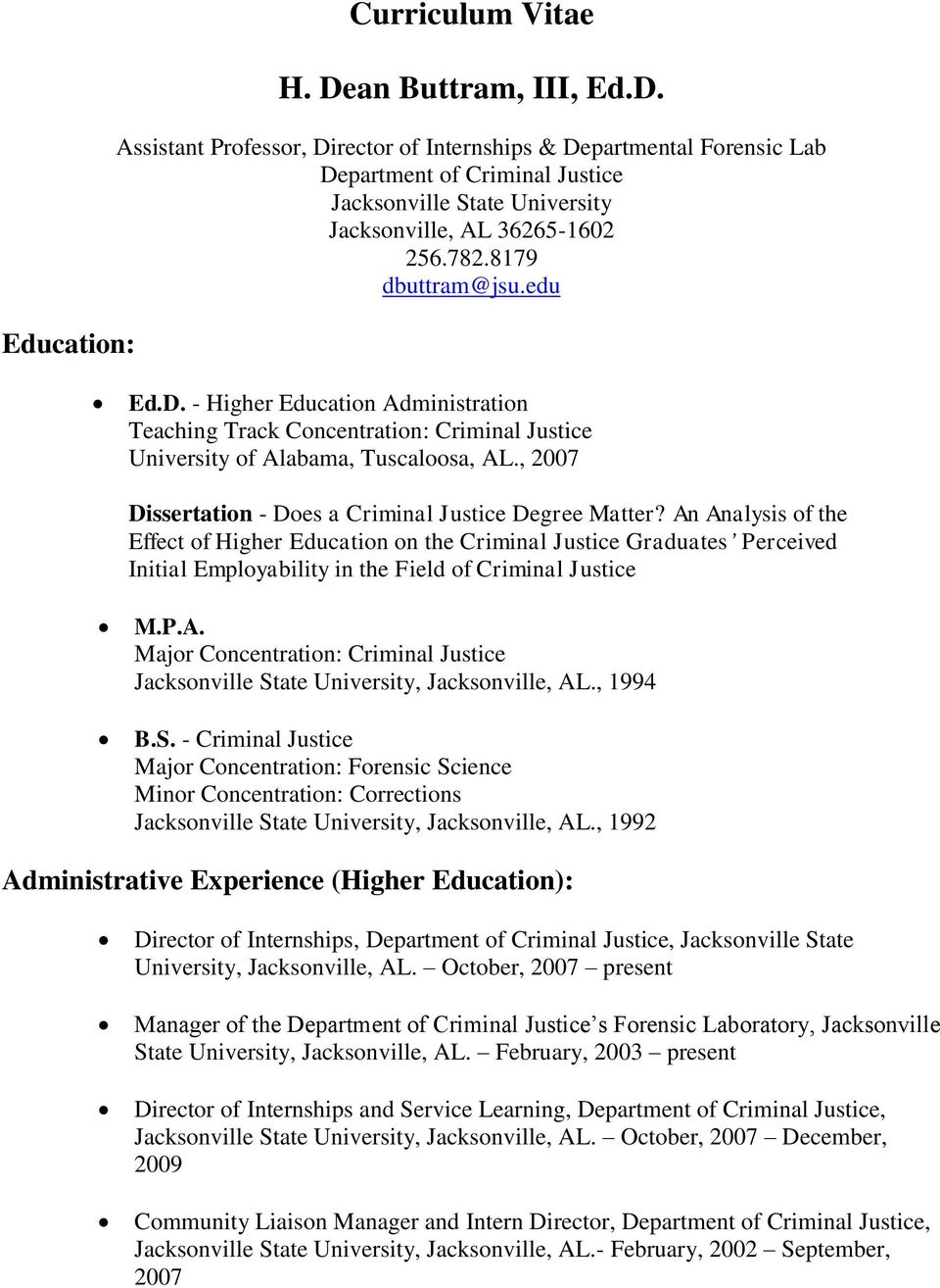 , 2007 Dissertation - Does a Criminal Justice Degree Matter?