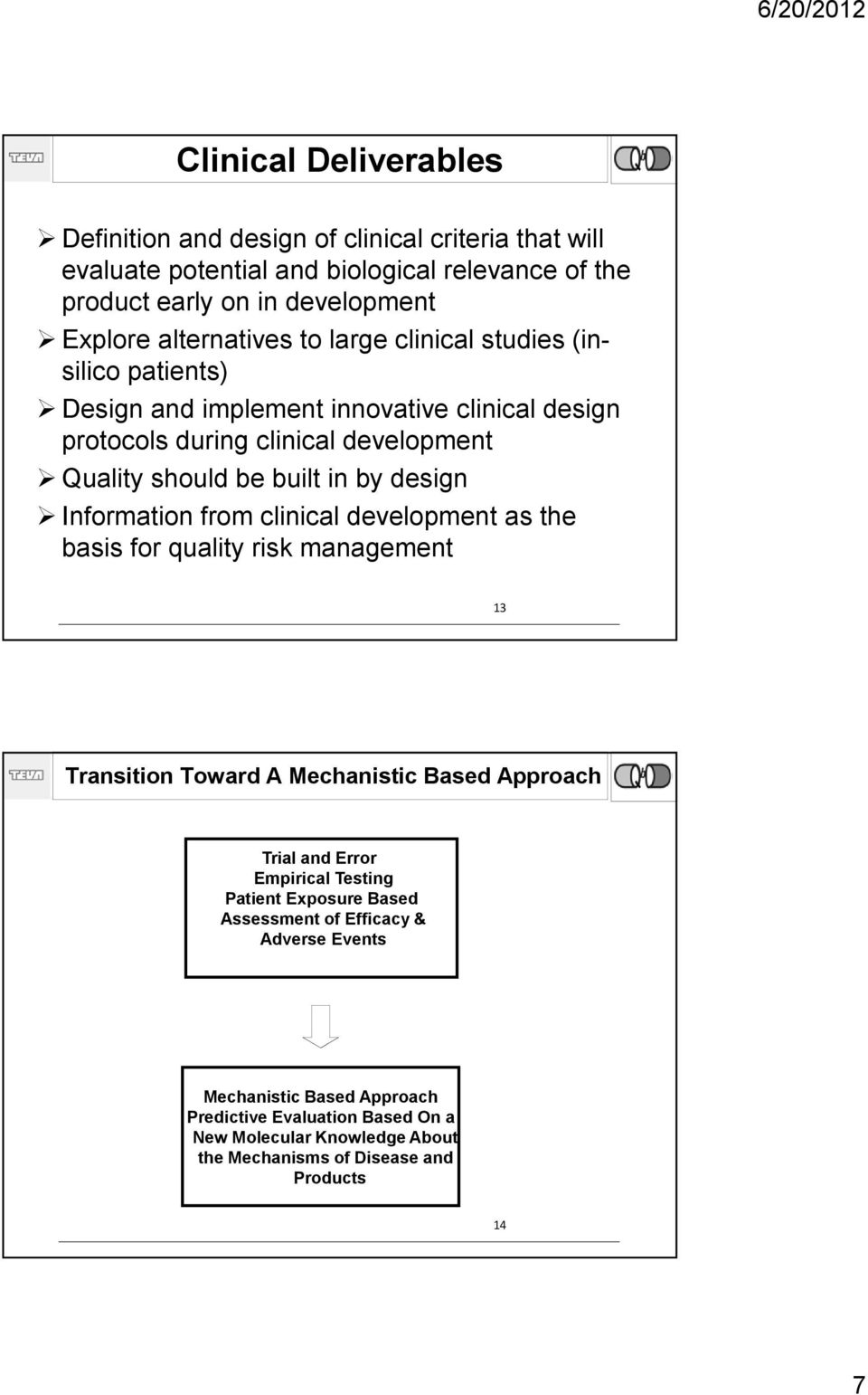 clinical development as the basis for quality risk management 13 Click Transition to edit Master Toward title A style Mechanistic Based Approach Trial and Error Empirical Testing