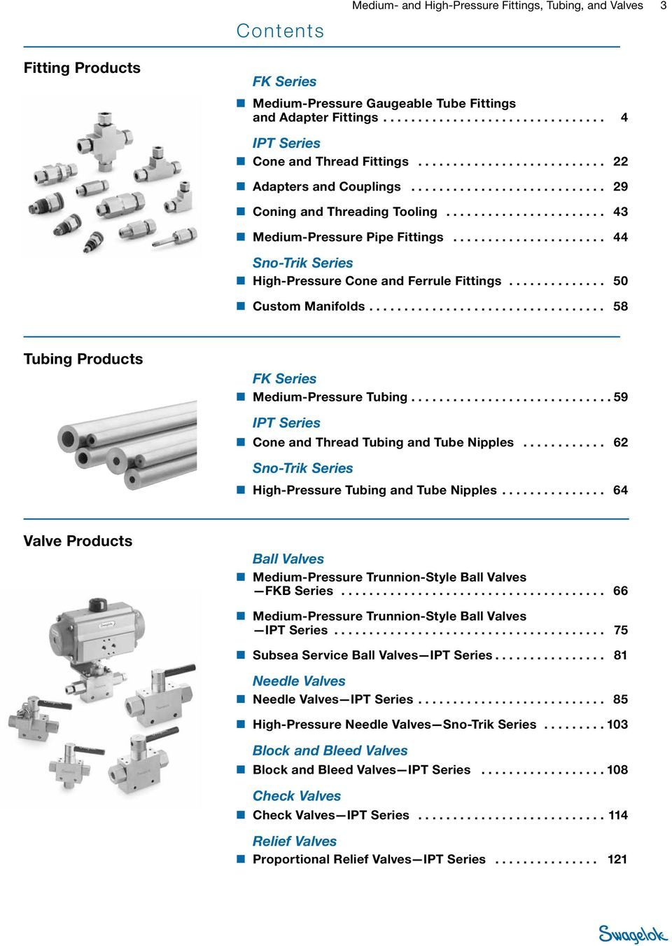 ............................ 59 IPT Series Cone and Thread Tubing and Nipples... 62 Sno-Trik Series High- Tubing and Nipples.