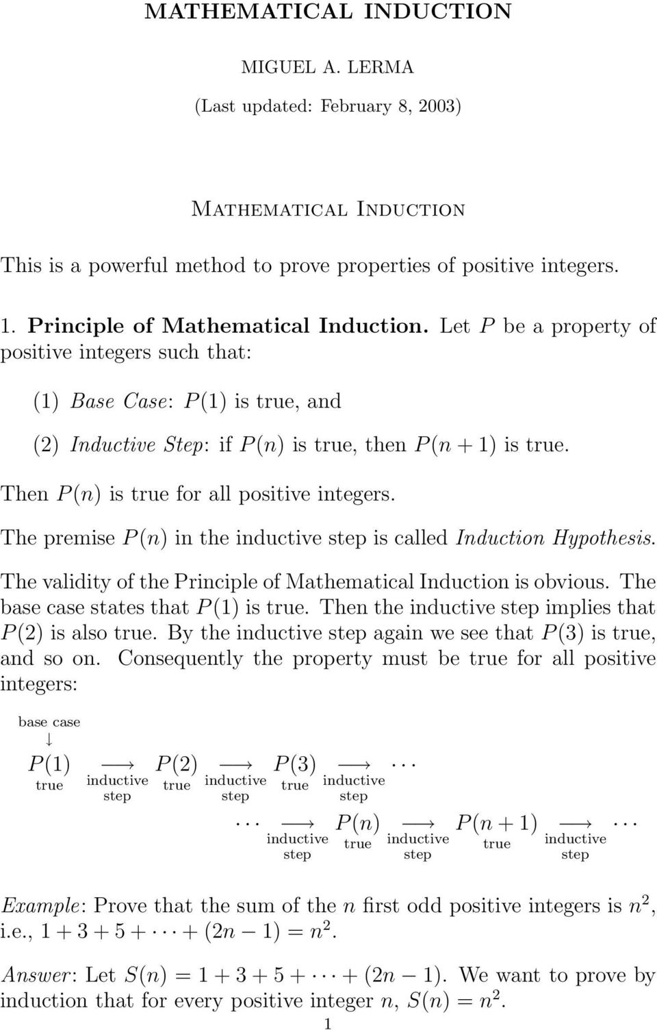 (n) in the inductive is called Induction Hypothesis The validity of the Principle of Mathematical Induction is obvious The base case states that P () is true Then the inductive implies that P () is