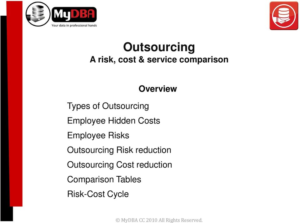 Outsourcing Risk reduction Outsourcing