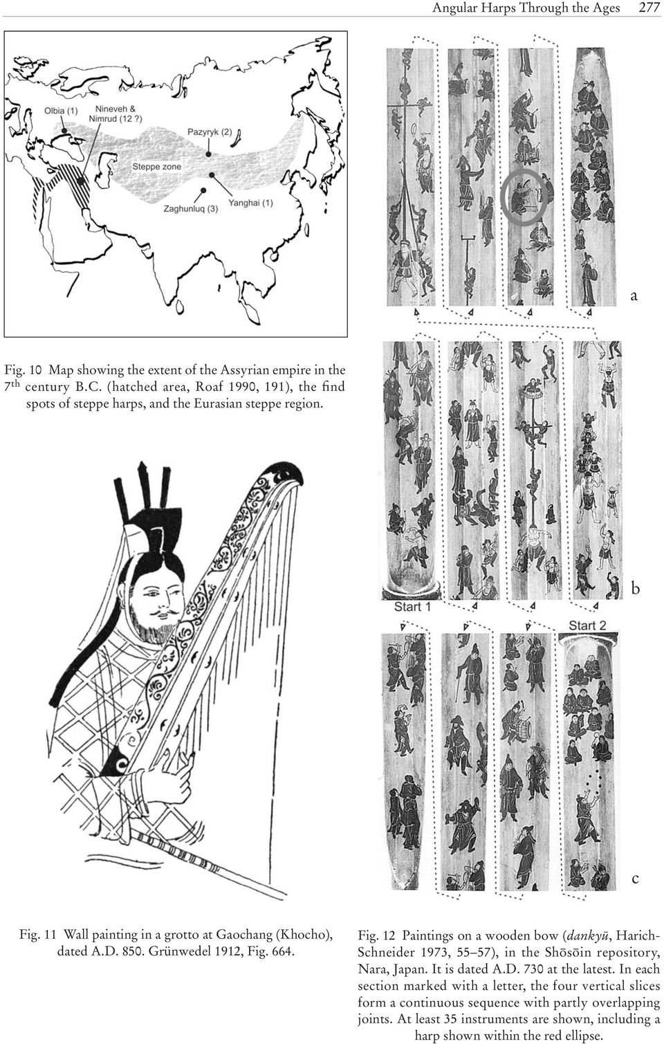 850. Grünwedel 1912, Fig. 664. Fig. 12 Paintings on a wooden bow (dankyü, Harich- Schneider 1973, 55 57), in the ShΩsΩin repository, Nara, Japan. It is dated A.D.