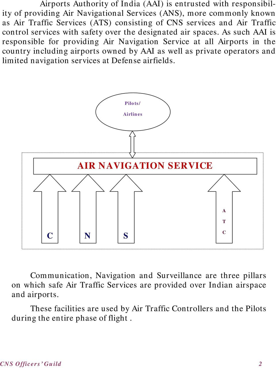 As such AAI is responsible for providing Air Navigation Service at all Airports in the country including airports owned by AAI as well as private operators and limited navigation services at Defense