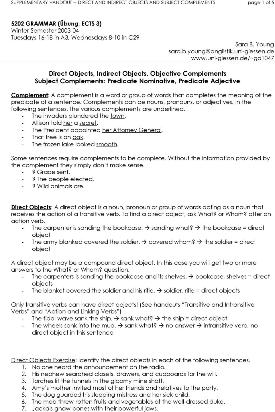 Find the Subject Complement | Worksheet