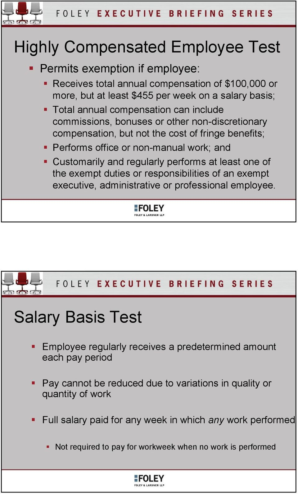 least one of the exempt duties or responsibilities of an exempt executive, administrative or professional employee.