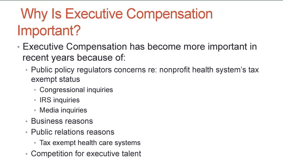 policy regulators concerns re: nonprofit health system s tax exempt status Congressional