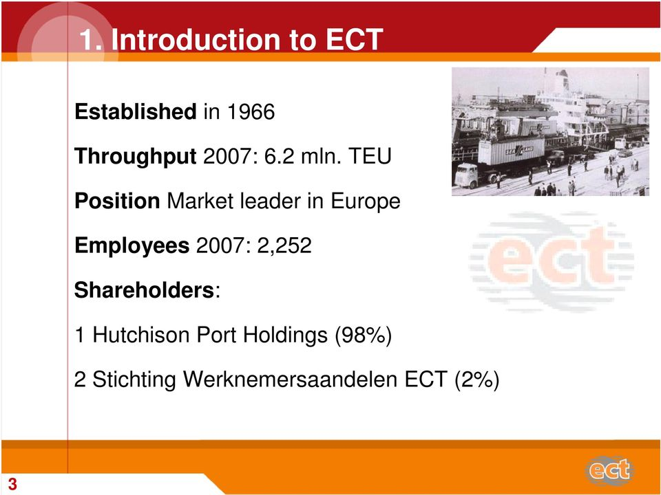 TEU Position Market leader in Europe Employees 2007: