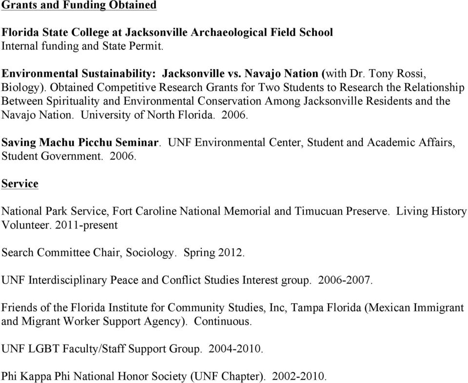 Obtained Competitive Research Grants for Two Students to Research the Relationship Between Spirituality and Environmental Conservation Among Jacksonville Residents and the Navajo Nation.