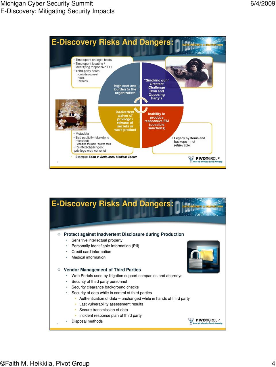 Information (PII) Credit card information Medical information 8 Vendor Management of Third Parties Web Portals used by litigation support companies and attorneys Security of third