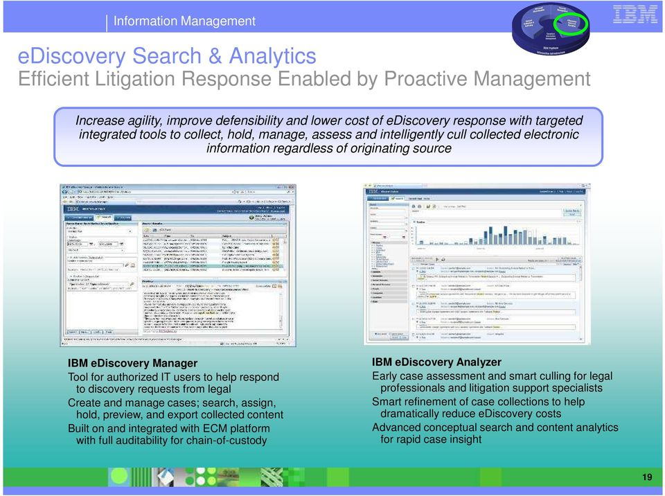 discovery requests from legal Create and manage cases; search, assign, hold, preview, and export collected content Built on and integrated with ECM platform with full auditability for