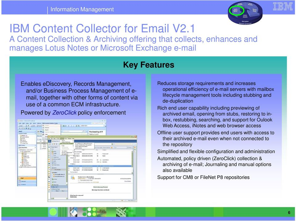 Management of e- mail, together with other forms of content via use of a common ECM infrastructure.