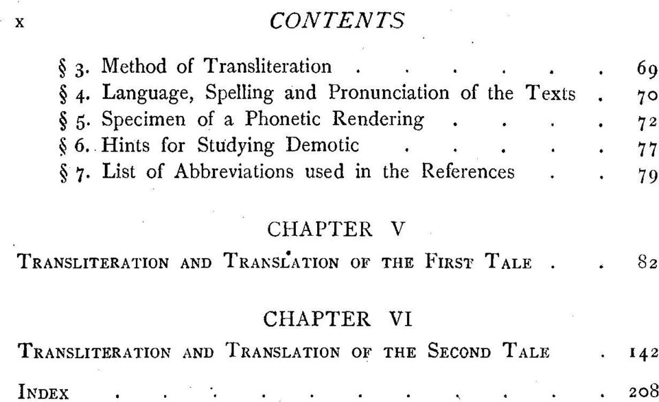 72 6 6. Hints for Studying Demotic. 77 $ 7. List of Abbreviations used in the References.