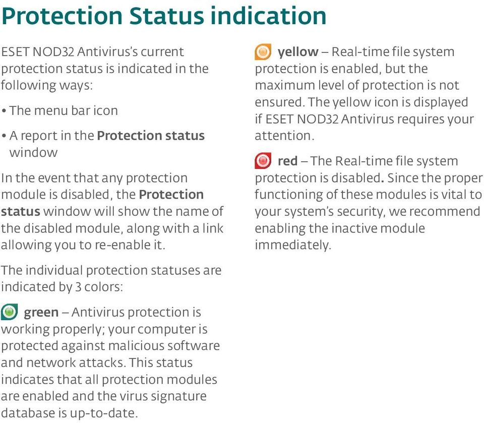 The individual protection statuses are indicated by 3 colors: yellow Real-time file system protection is enabled, but the maximum level of protection is not ensured.