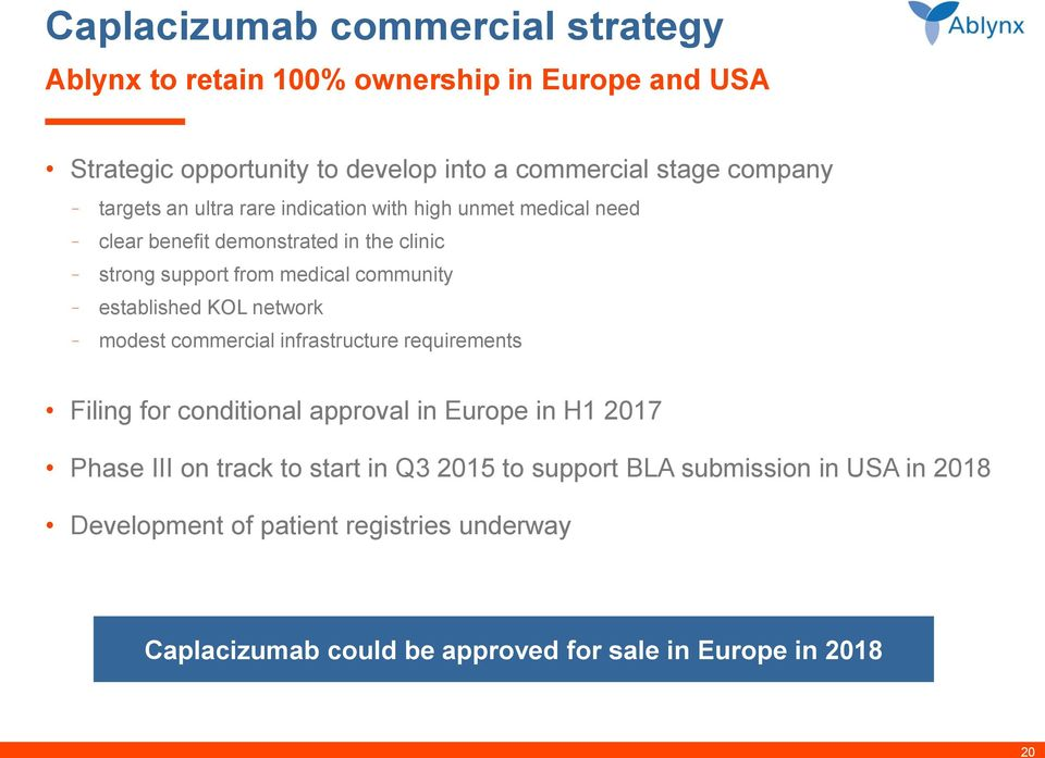established KOL network modest commercial infrastructure requirements Filing for conditional approval in Europe in H1 2017 Phase III on track to