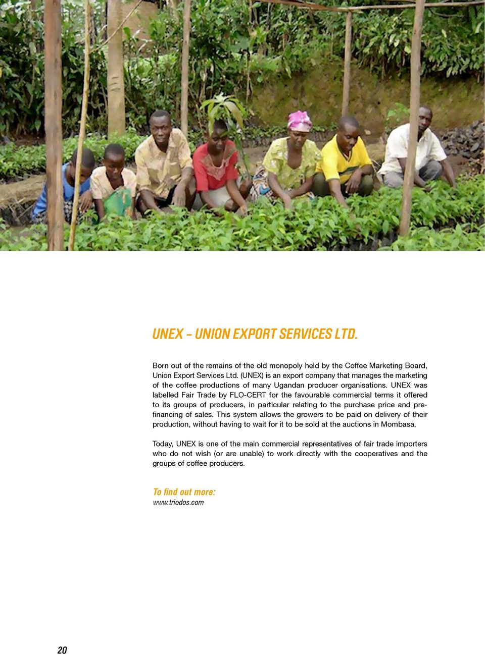 UNEX was labelled Fair Trade by FLO-CERT for the favourable commercial terms it offered to its groups of producers, in particular relating to the purchase price and prefinancing of sales.