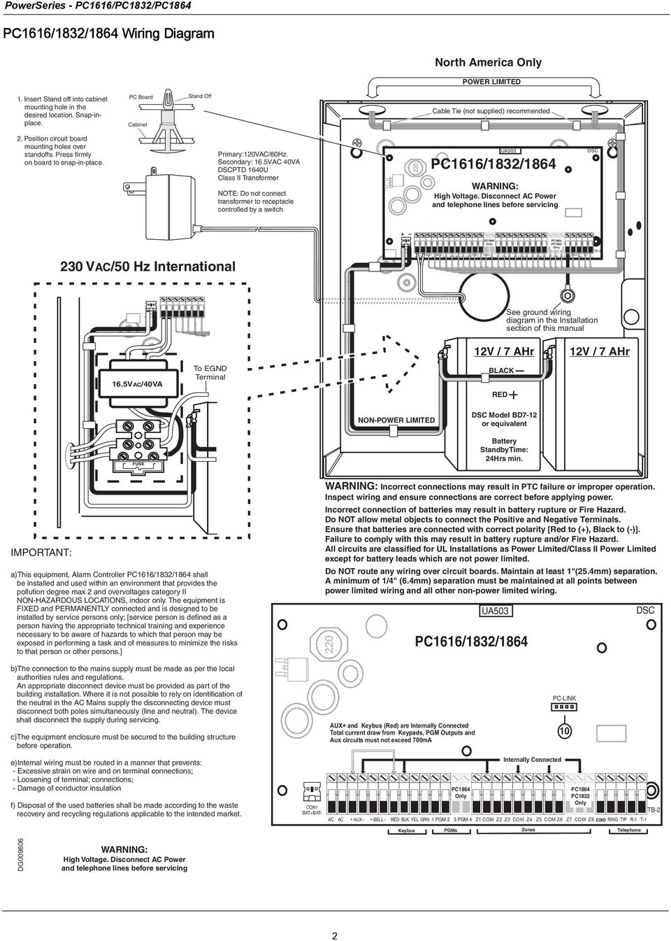 Pc 1616 Wiring Diagram And Schematics Dsc Pc1832 Pc1616 Kit Source Secondar Y 16 5vac 40va Dscptd 1640u Cl Ii Tr Ansf Or Mer No Te