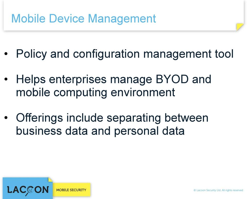 mobile computing environment Offerings include