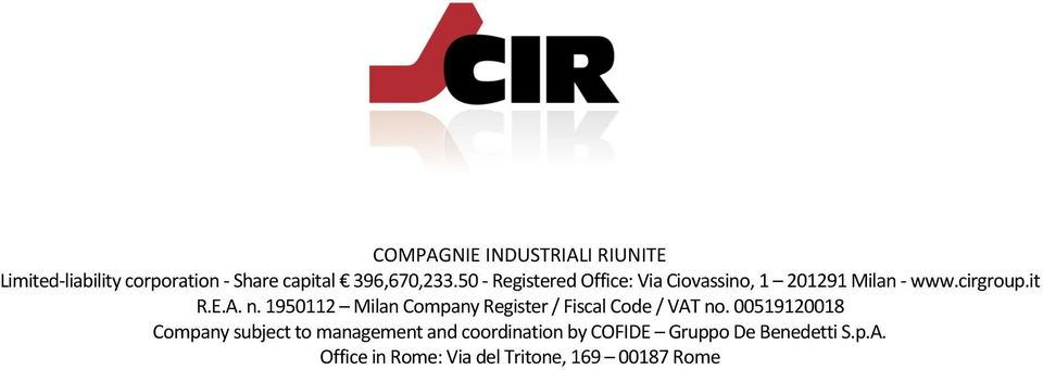 1950112 Milan Company Register / Fiscal Code / VAT no.