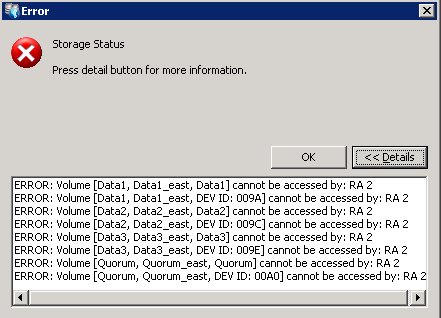 Solving Replication Appliance (RA) Problems If you click the red error indication in the right column for splitters, the message is ERROR: USMV-WEST2 s connection with RA2 is down Warnings and