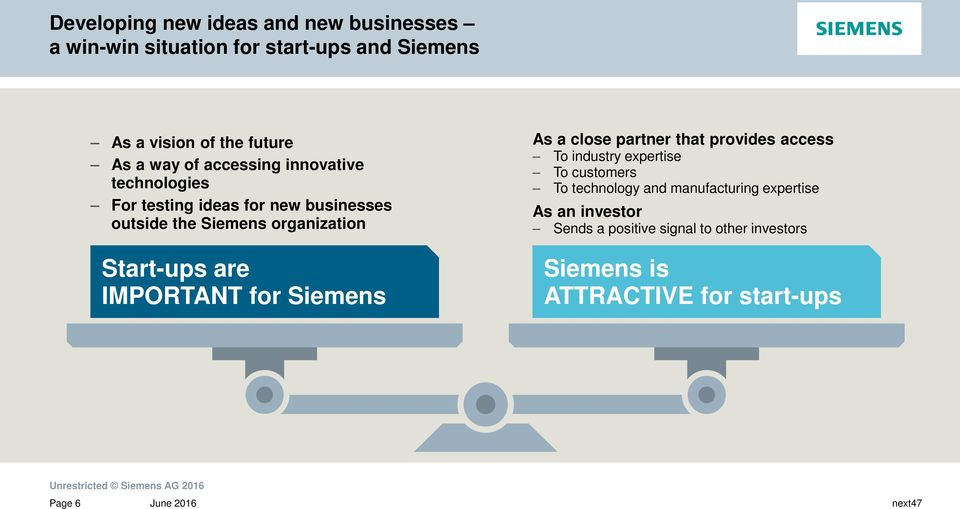 IMPORTANT for Siemens As a close partner that provides access To industry expertise To customers To technology and