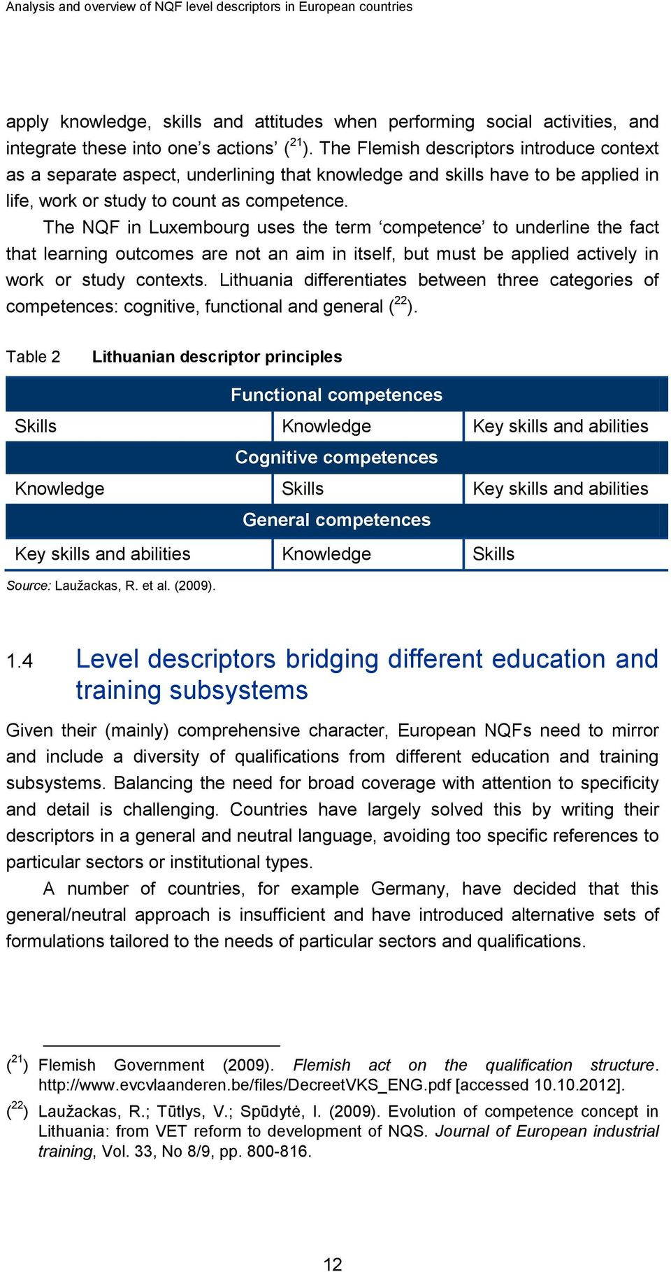 The NQF in Luxembourg uses the term competence to underline the fact that learning outcomes are not an aim in itself, but must be applied actively in work or study contexts.