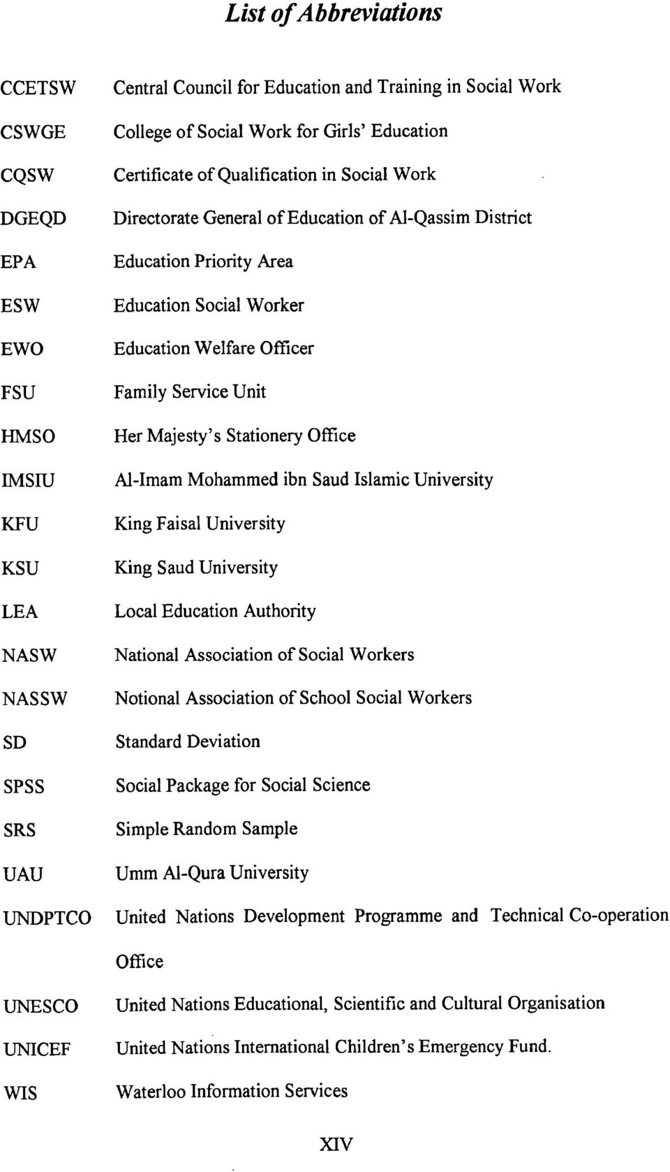 Office IMSIU Al-Imam Mohammed ibn Saud Islamic University KFU King Faisal University KSU King Saud University LEA Local Education Authority NASW National Association of Social Workers NASSW Notional