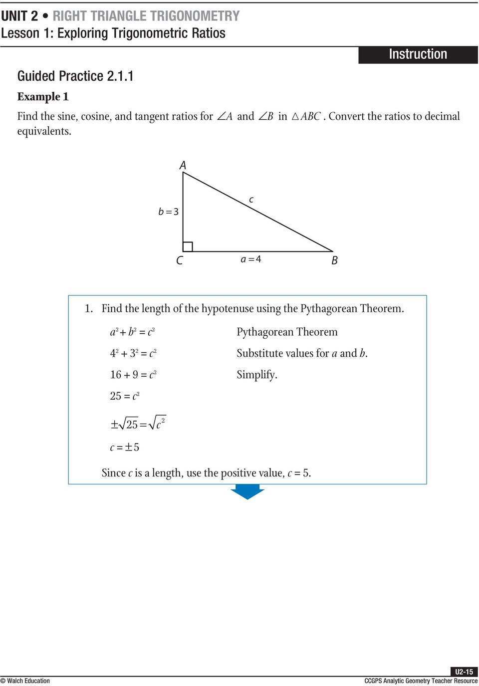 Trigonometry Find The Length Of The Hypotenuse Using The Pythagorean  Theorem