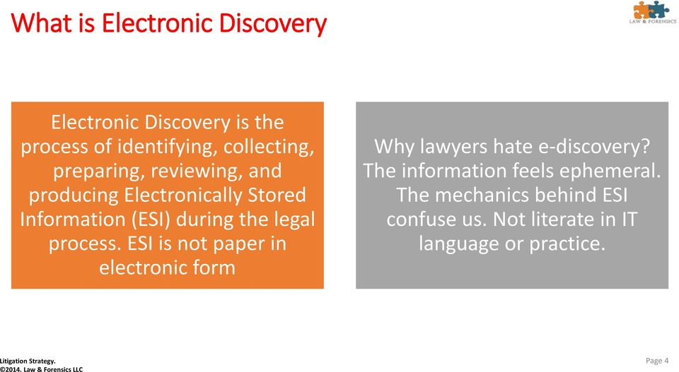 process. ESI is not paper in electronic form Why lawyers hate e-discovery?