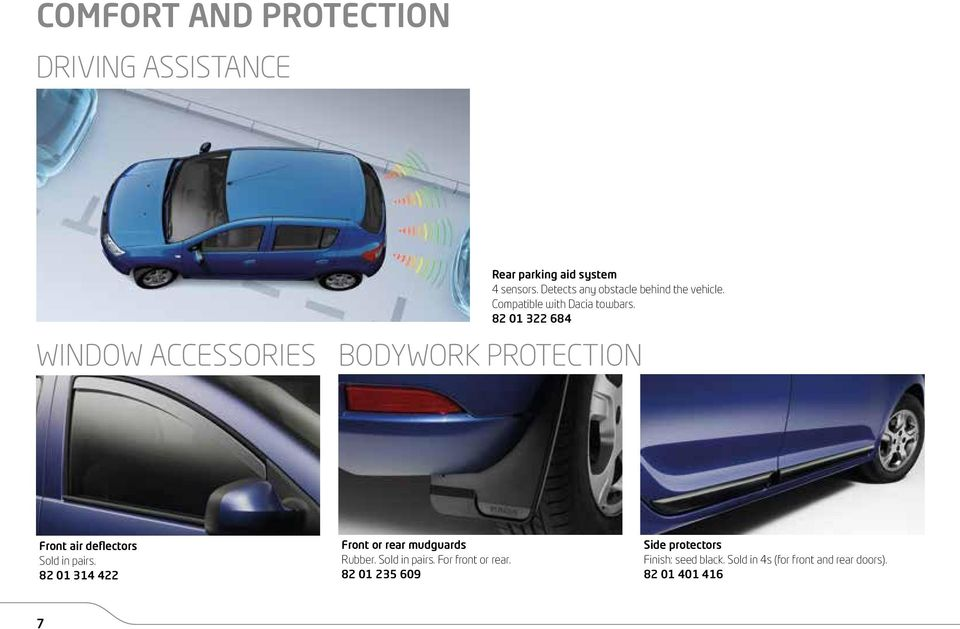 82 01 322 684 BODYWORK PROTECTION Front air deflectors Sold in pairs.