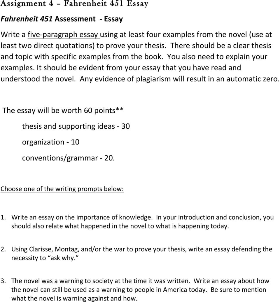 essay topic fahrenheit 451 fahrenheit theme essay novel essays marked by teachers fahrenheit theme essay novel essays marked by teachers