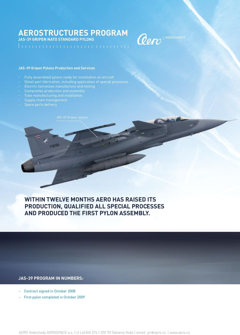 manufacturing and installation - Supply chain management - Spare parts delivery JAS-39 Gripen: pylons WITHIN TWELVE MONTHS AERO HAS RAISED ITS PRODUCTION,