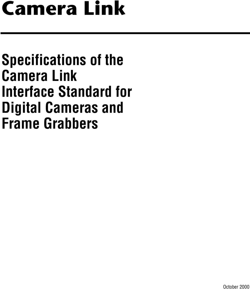 Camera Link Specifications of the Camera Link Interface Standard for ...