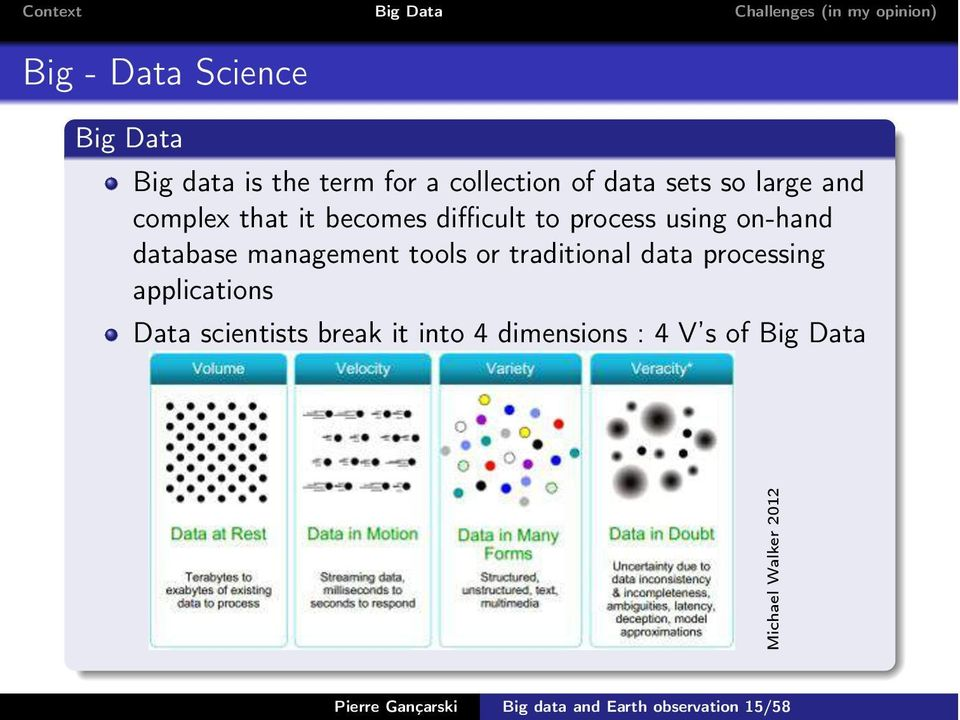 or traditional data processing applications Data scientists break it into 4 dimensions :
