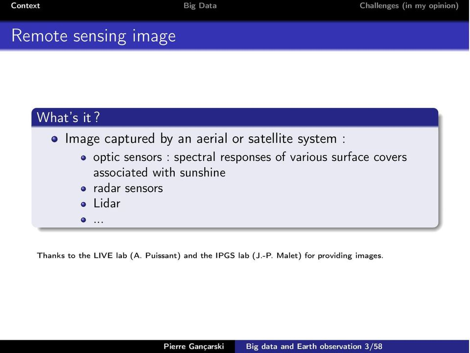 responses of various surface covers associated with sunshine radar sensors Lidar.