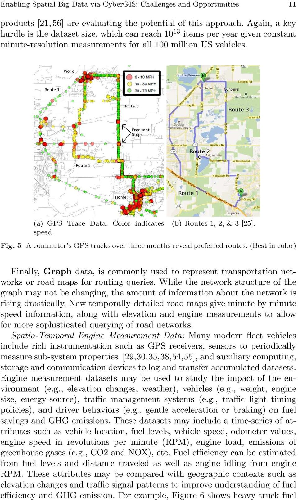 (b) Routes 1, 2, & 3 [25]. Fig. 5 A commuter s GPS tracks over three months reveal preferred routes.