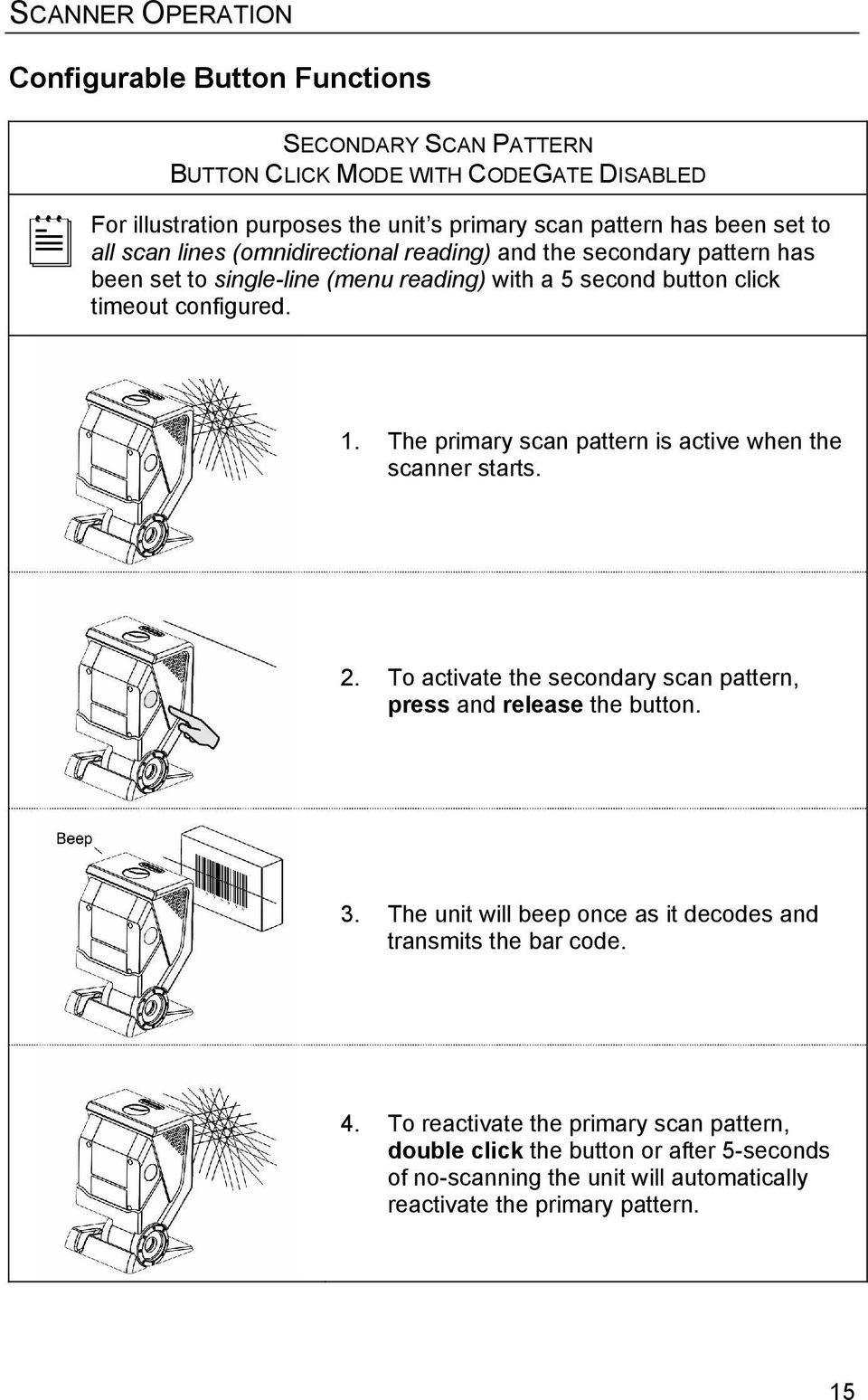 The primary scan pattern is active when the scanner starts. 2. To activate the secondary scan pattern, press and release the button. 3.